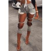 Lovely Fashion Mid Elastic Waist Broken Holes Grey