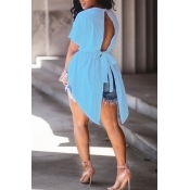 Милые Модные Шею Нерегулярный Дизайн Шнурок Голубые Хлопковые Рубашки