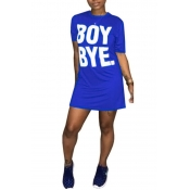 Lovely Casual Round Neck Short Sleeves Letters Printed Royalblue Fiber Mini Dress
