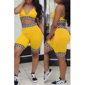 Lovely Sexy V Neck Plaids Printed Yellow Polyester Two-piece Shorts Set