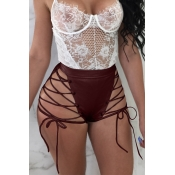 Lovely Chic High Elastic Waist Lace-up Wine Red PU Shorts