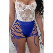 Lovely Chic High Elastic Waist Lace-up Blue PU Shorts