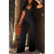 Lovely Elegant V Neck SleeveLess Black Polyester One-piece Jumpsuits(With Belt)