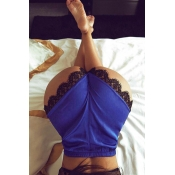 Lovely Trendy High Waist Lace Patchwork Blue Polye