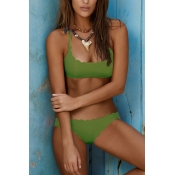 Lovely Ladylike Lace Design Green Polyester Two-piece Swimwears