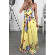 Lovely Bohemian V Neck Floral Printed Yellow Milk Fiber Floor Length Dress
