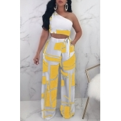 Lovely Chic Show A Shoulder Geometric Printed Yellow Qmilch Two-piece Pants Set