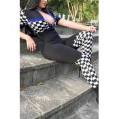 LovelyLeisure Mandarin Collar Grid Printed Black Polyester One-piece Jumpsuits