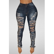 Lovely Trendy High Waist Broken Holes Dark Blue Denim Pants