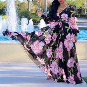 Precioso Bohemio Con Cuello En V Manga Larga Estampado Floral Vestido Largo De Gasa Negro Piso