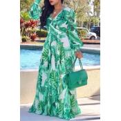 Lovely Bohemian V Neck Long Sleeves Floral Printed Green Chiffon Floor Length Dress