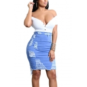 LovelyTrendy Broken Holes Light Blue Denim Sheath