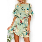 Lovely Blending Bohemian U neck Cap Sleeve Short S