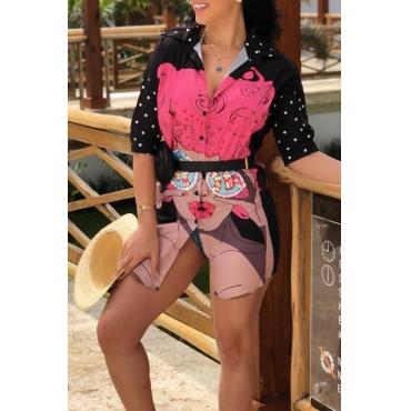 Lovely Fashion Turndown Collar Cartoon Characters Printed Black Polyester Mini Dress