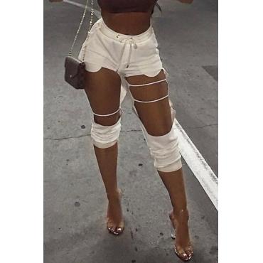 LovelyFashion Mid Elastic Waist Broken Holes White Cotton Blends Harlan Pants