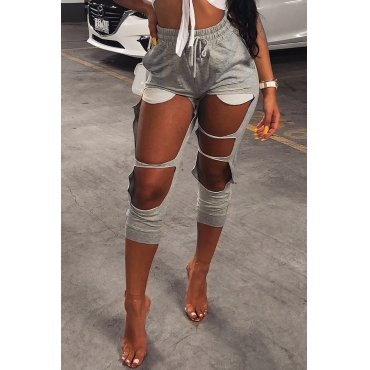 Lovely Fashion Mid Elastic Waist Broken Holes Grey Cotton Blends Harlan Pants