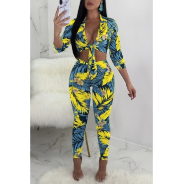 Lovely Fashion Turndown Collar Printed Baby Blue Polyester Two-piece Pants Set