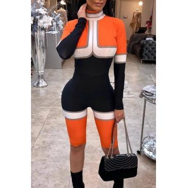 Lovely Stylish Turtleneck Color Block Patchwork Orange Polyester One-piece Short Jumpsuits