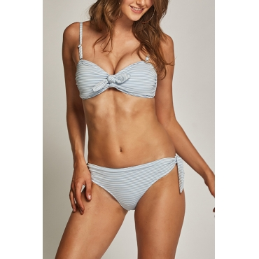 Lovely Nifty Bandage Striped Baby Blue Spandex Two-piece Swimwears