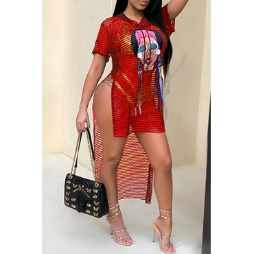Lovely Sexy Hooded collar Hollow-out Character Printed Red Polyester T-shirt(Without Subcoating)
