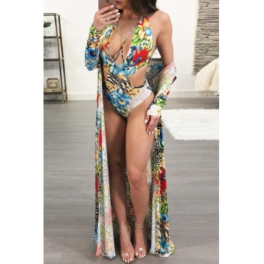 Lovely Leisure Lace-up Hollow-out Floral Printed Polyester One-piece Swimwears(With Cover-Ups)