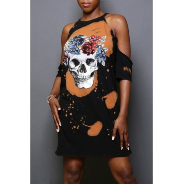 Lovely Fashion Dew Shoulder Skull Printed Black Cotton Blend Mini Dress