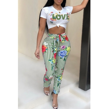 Lovely Euramerican Round Neck Striped Floral Printed Green Polyester Two-Piece Pants Set