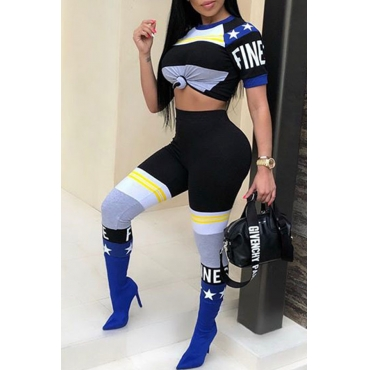 LovelyTrendy Round Neck Striped+Letters Printed Blue Polyester Two-piece Pants Set
