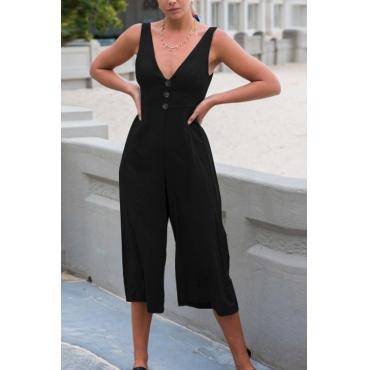 Lovely Sexy V Neck Back Bandage Design Black Cotton Blends One-piece Jumpsuits