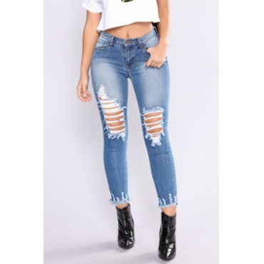 Lovely Chic Mid Waist Broken Holes Blue Denim Zipped Jeans