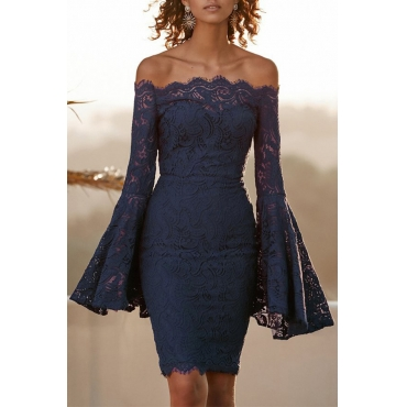 Lovely Fashion Bateau Neck Flared Sleeves Hollow-out Dark Blue Lace Knee Length Dress