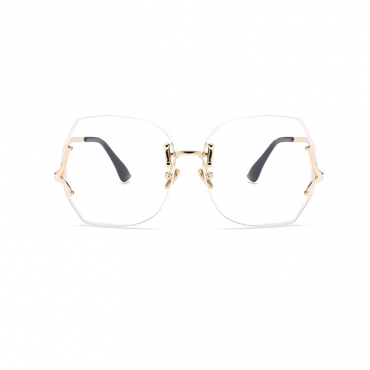 Lovely Fashion Transparent Lens Gold PC Sunglasses