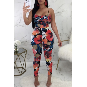 Lovely Euramerican Spaghetti Strap Sleeveless Floral Printed Black Polyester One-piece Jumpsuits