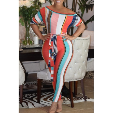 71d69c38897 Lovely Sexy Bateau Neck Striped Red Cotton Blends One-piece Jumpsuits(With  Belt)