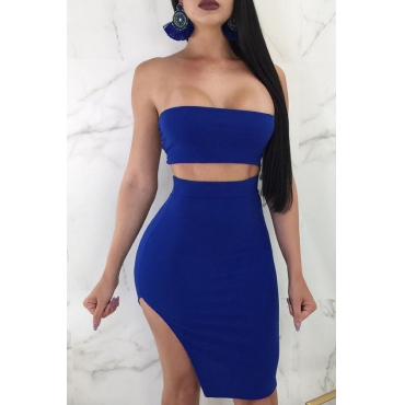 Lovely Sexy Bateau Neck Lace-up Royalblue Twilled Satin Two-piece Skirt Set