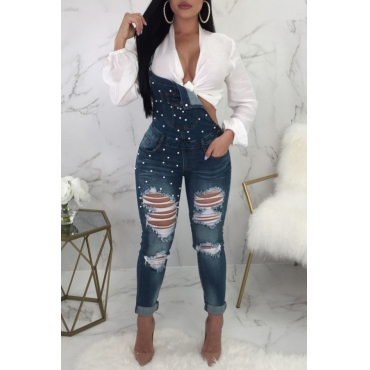 Lovely Fashion Broken Holes Nailed Pearl Deep Blue Denim One-piece Jumpsuits