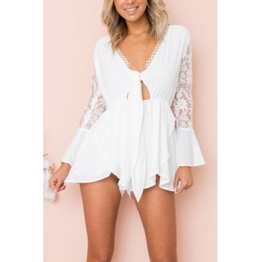 Lovely Sexy Deep V Neck Mandarin Sleeves Lace Patchwork White Blending One-piece Jumpsuits
