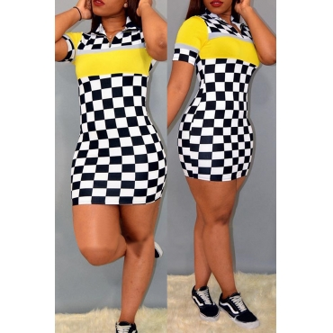Lovely Trendy Turndown Collar Grid Printed Yellow Milk Fiber Mini Dress
