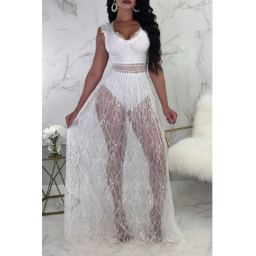 Lovely Sexy V Neck See-Through Backless White Lace Floor Length Dress