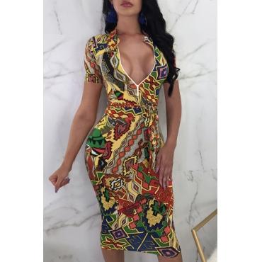 Lovely Sexy Mandarin Collar Geometric Printed Cotton Blend Mid Calf Dress(With Belt)