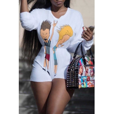 Lovely Casual Round Neck Cartoon Printed White Polyester One-piece Short Jumpsuits