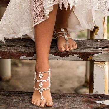 Lovely Fashion Layered Diamante Decorative Silver Metal Body Chain