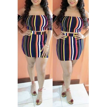 Lovely Trendy Bateau Neck Striped Printed Polyester Two-piece Skirt Set(Without Belt)