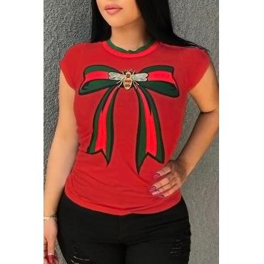Lindo Lindo Em Torno Do Pescoço Arco Impresso Algodão Vermelho Combina T-shirt