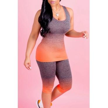 Gradiente Hermoso Cuello En Forma De U Impreso Pantalones De Dos Piezas De Poliéster Naranja