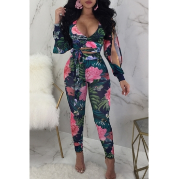 Lovely Trendy V Neck Floral Printed Bandage Slit Blue Blending Two-piece Pants Set