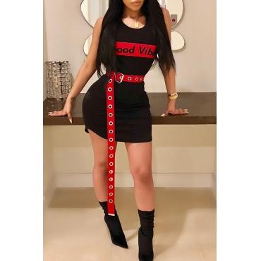 Bel Girocollo Casual Lettere Stampate Mini Dress In Twill Nero Satinato (senza Cintura)