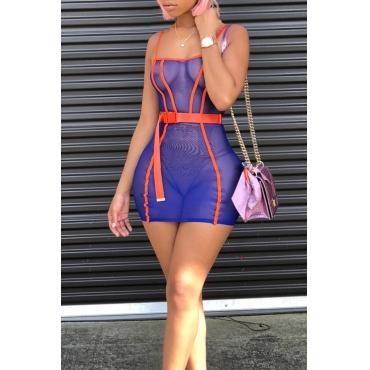 Lovely Sexy Spaghetti Strap Sleeveless See-Through Dark Blue Cotton Blend Mini Dress(With Belt)