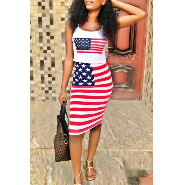 Lovely Casual Round Neck Flag Printed White Blending Two-piece Skirt Set