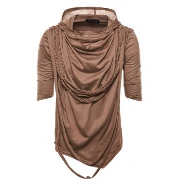 Lovely Casual Hooded Collar Tassels Light Coffee Cotton Blends T-shirt